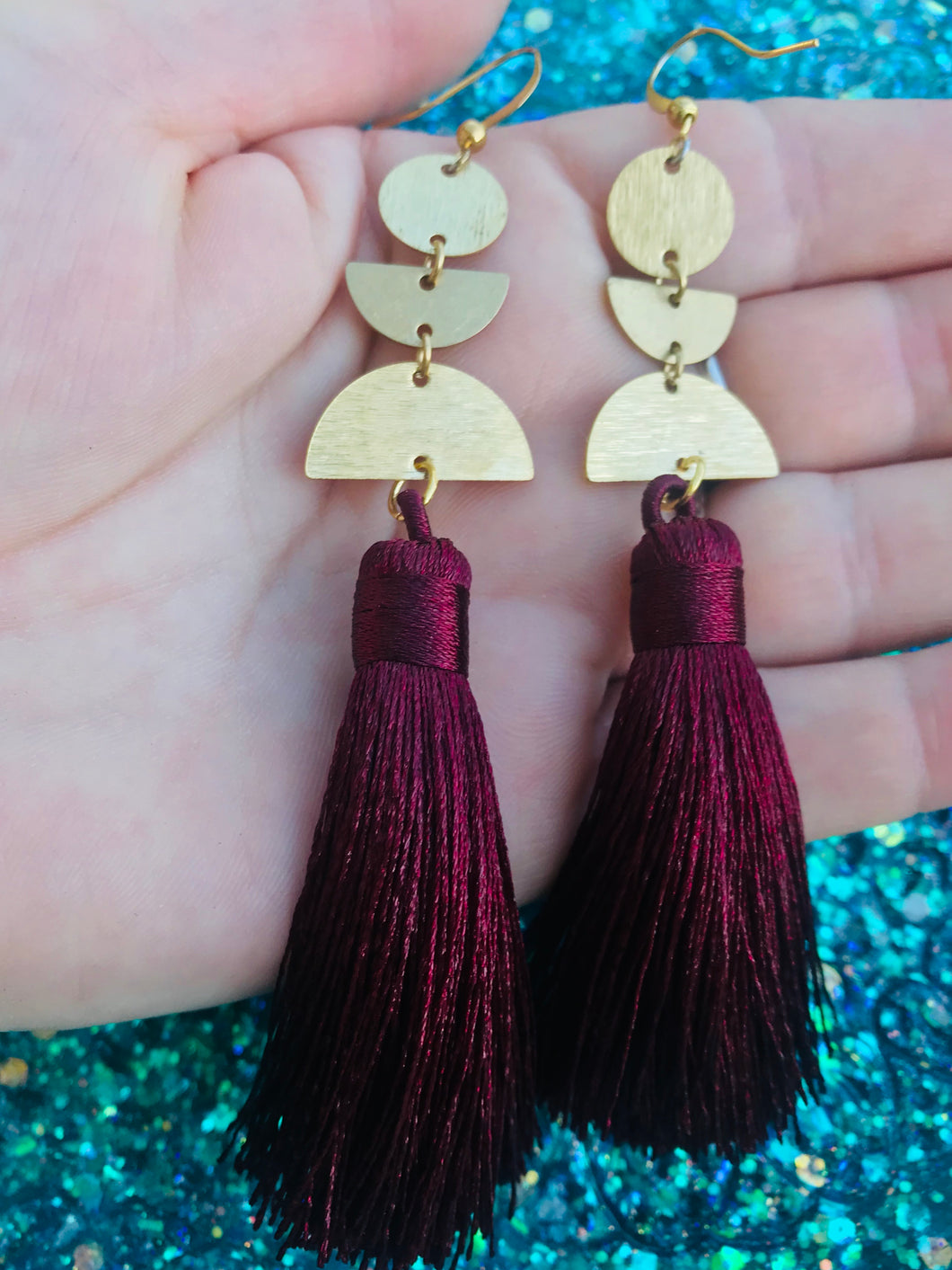 Burgundy Brass Tassel Earrings