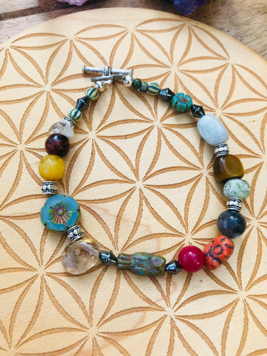 Mixed Gemstone Rutile Quartz and Flower Bracelet