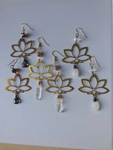 Brass Lotus Clear Quartz Earrings