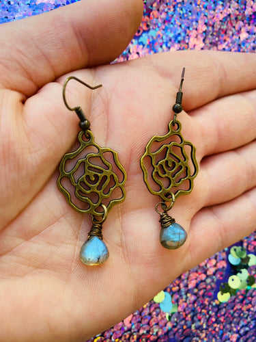 Labradorite Rose Earrings