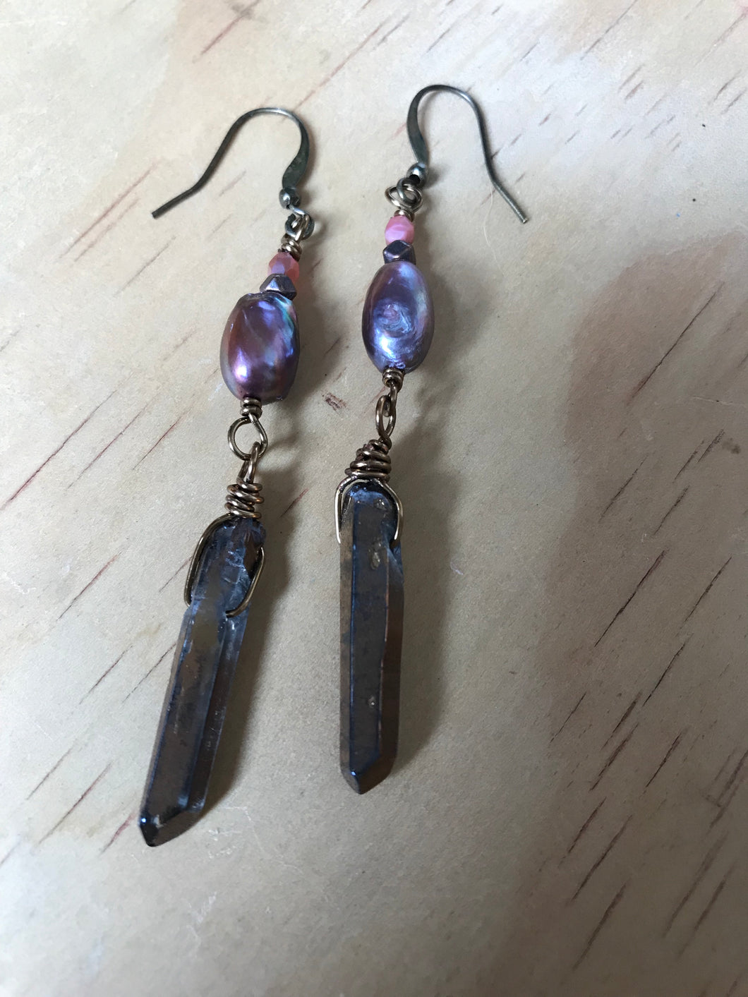 Purple Pearl and Bronze Quartz Earrings