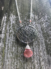Lotus & Strawberry Quartz Necklace