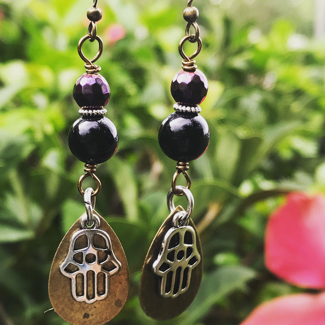 Mixed Metal Hamsa Earrings