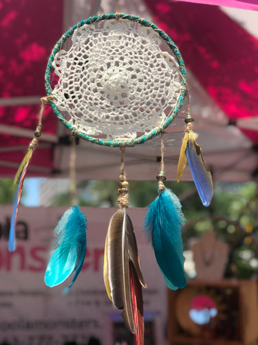 Turquoise & Parrot Feather Dream Catcher