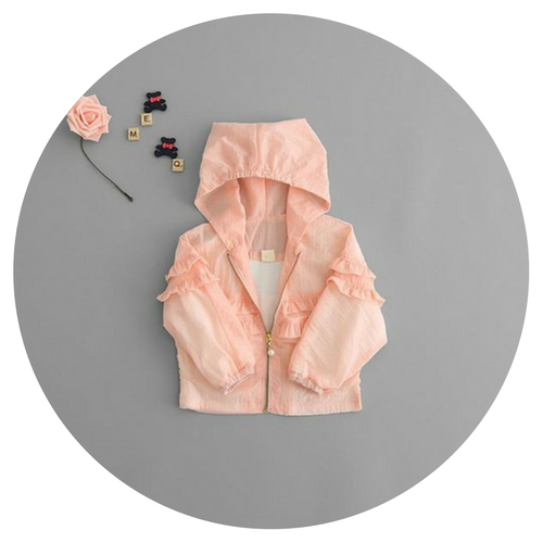 Hooded Jacket w Ruffle Detail