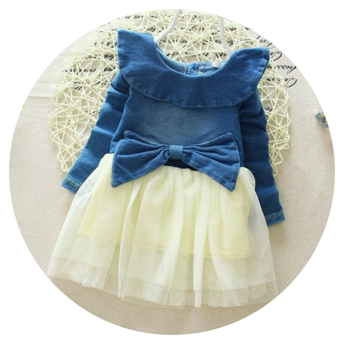 Denim & Tulle Bow Dress