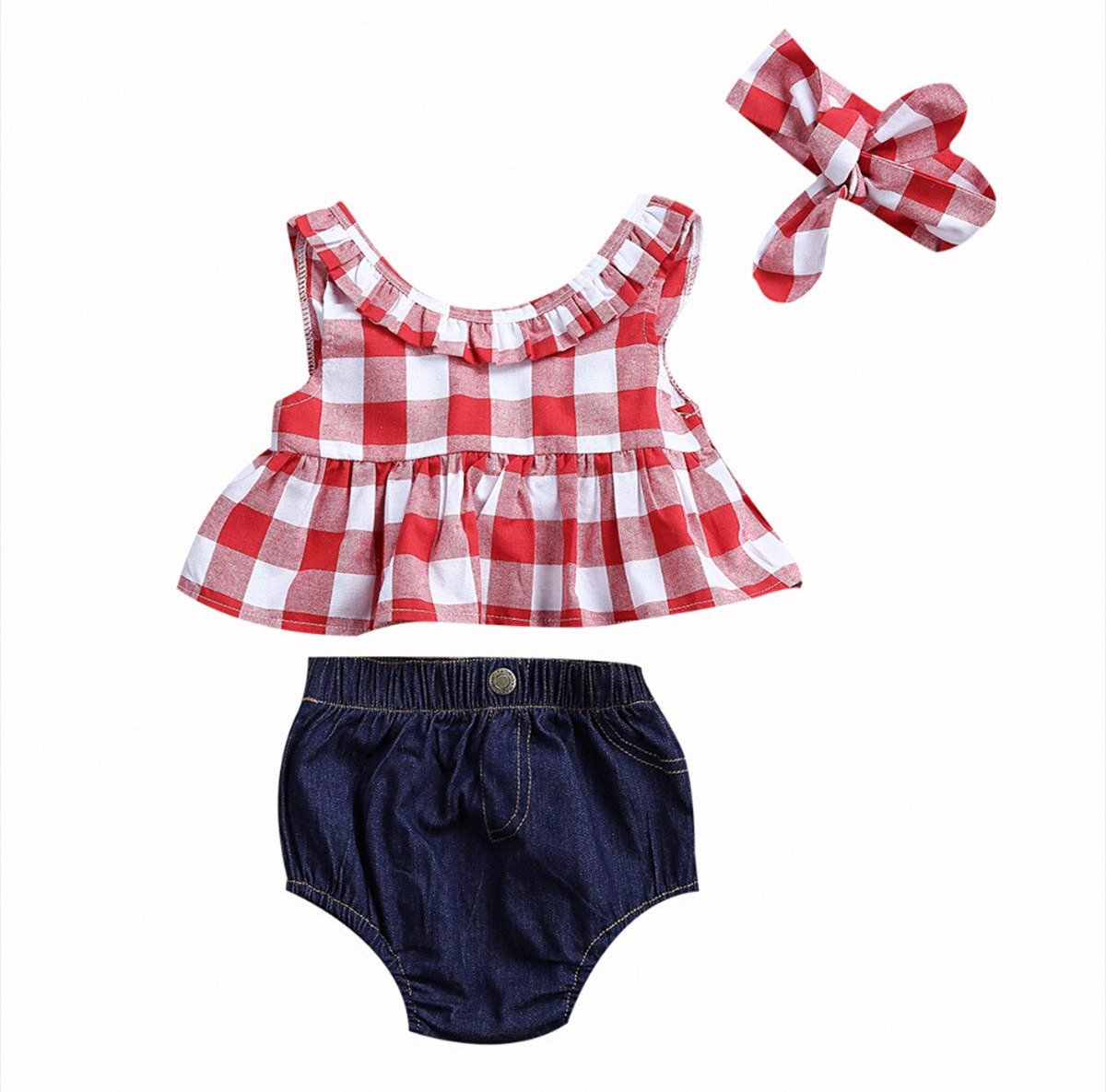 Gingham skirted top w headband and denim shorts, 3 Pc set