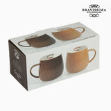 2 Piece Coffee Cup Set Brown Cream - Kitchen's Deco Collection by Bravissima Kitchen