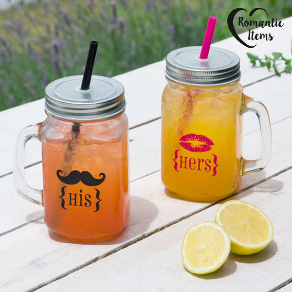 Romantic Items His & Hers Jars with Lid and Straw (pack of 2)