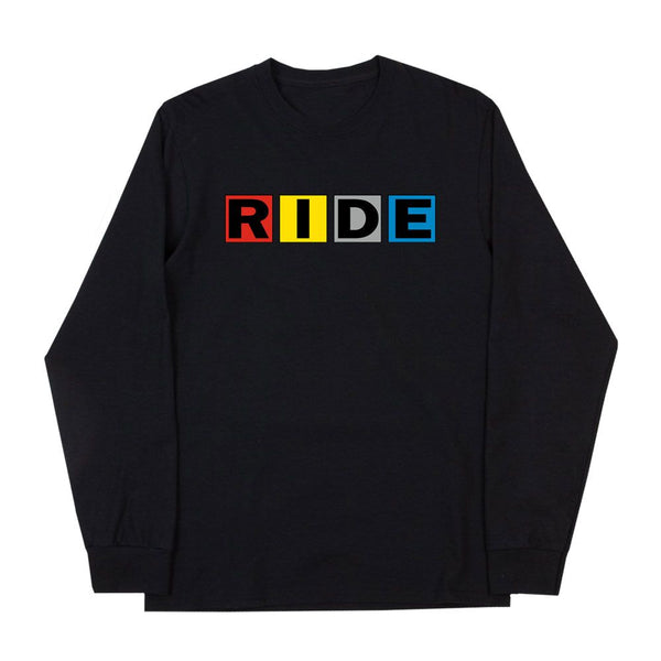 RIDE SQUARES BLACK LONG SLEEVE T-SHIRT