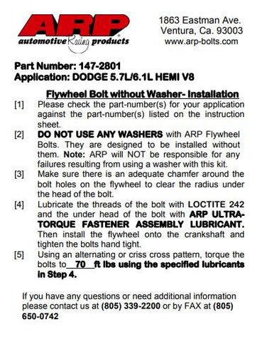 Flywheel Bolt Instructions