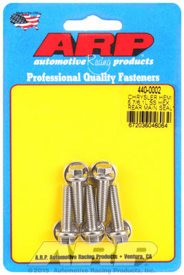 Rear Main Seal Plate Bolt Kit, Stainless Steel, Hex- Chrysler HEMI 5.7/6.1/6.4L - Gauge Performance
