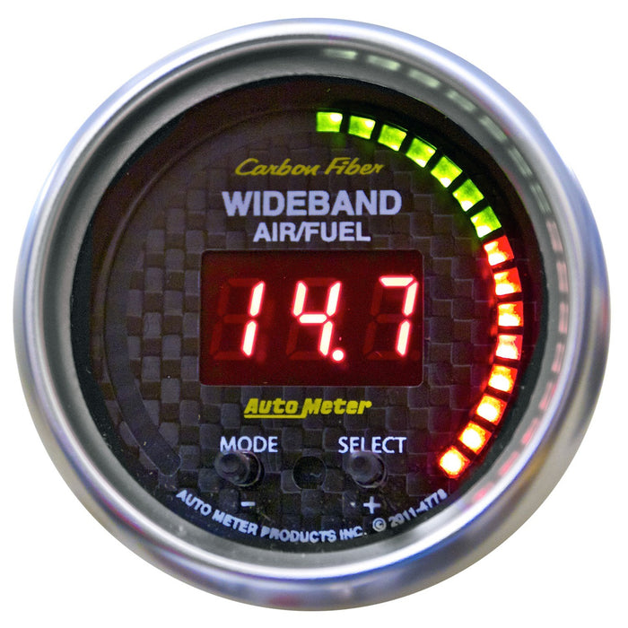 "Auto Meter Carbon Fiber Wideband Pro Air/Fuel Gauge - Digital; 2-1/16"" - Gauge Performance"
