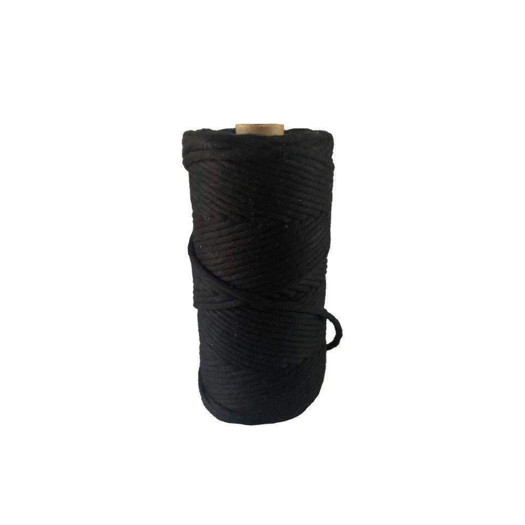 Luxury Macrame Cord ~ Ebony Black String, 4mm
