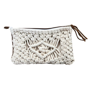 Clutch Bag ~ macrame & leather