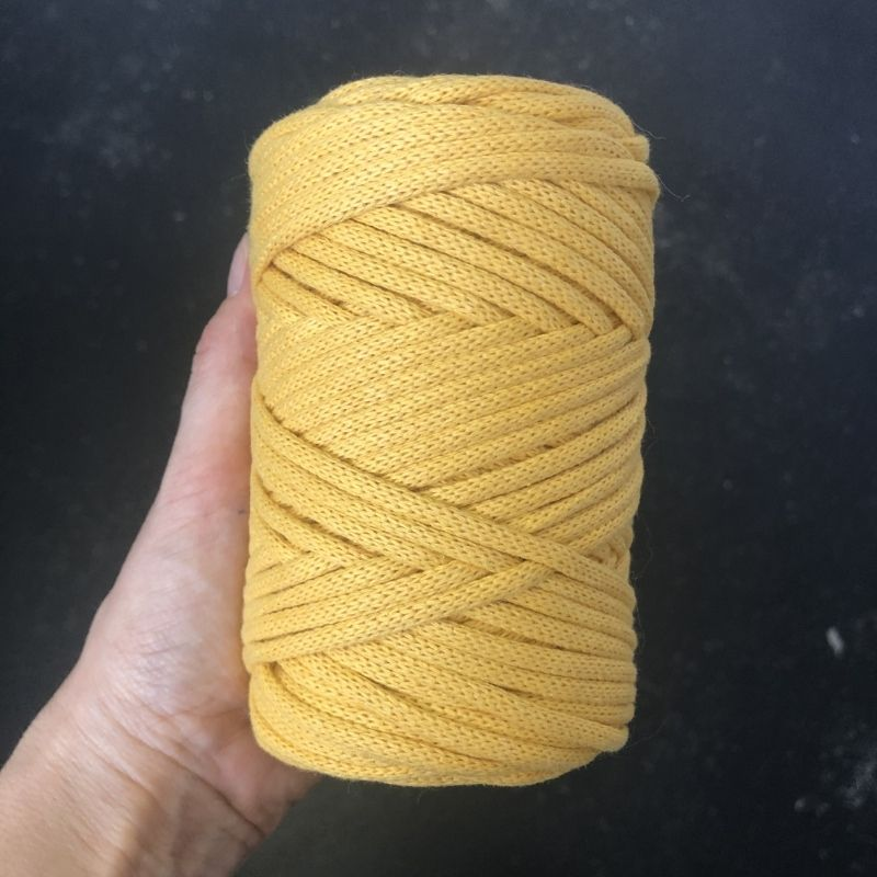 Macrame Cord (Premium) ~ Yellow Braided Cord, 3mm