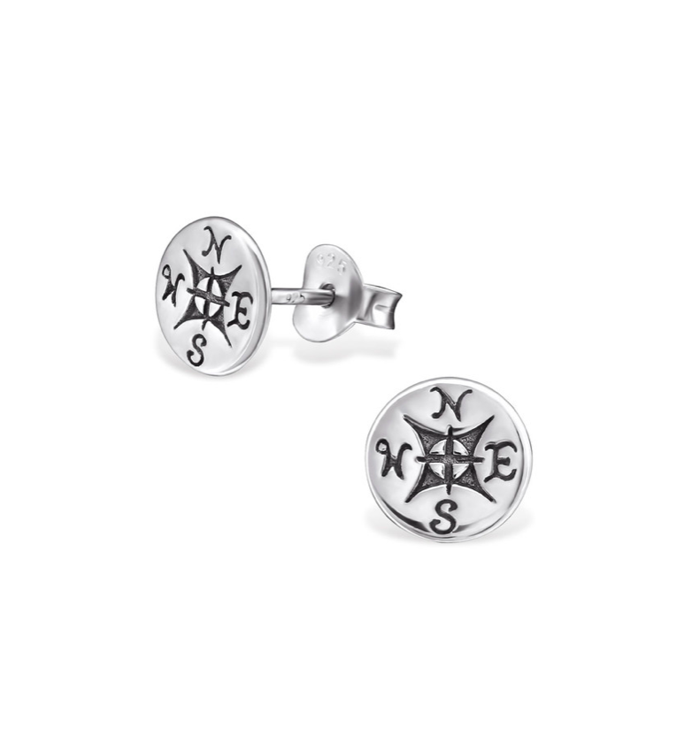 Sterling Silver Compass Studs