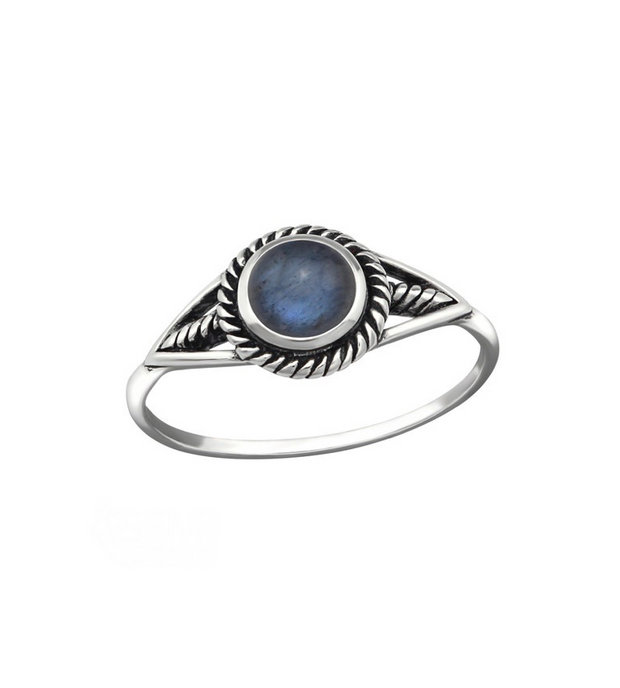Navy Opal Ring Sterling Silver