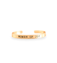 'Women of Joy' Brushed Gold Cuff Bracelet