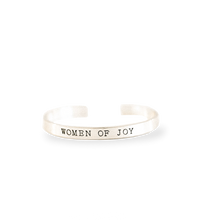 'Women of Joy' Brushed Silver Cuff Bracelet - Buy 3 for $24.99