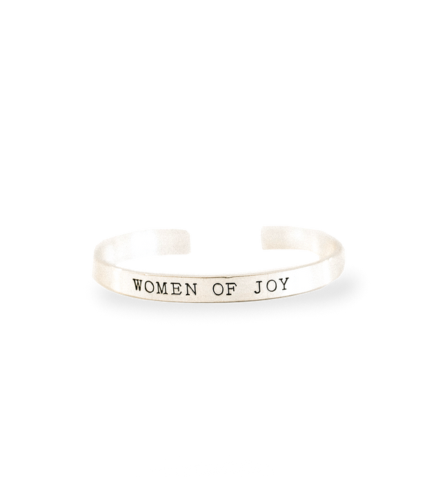 'Women of Joy' Brushed Silver Cuff Bracelet