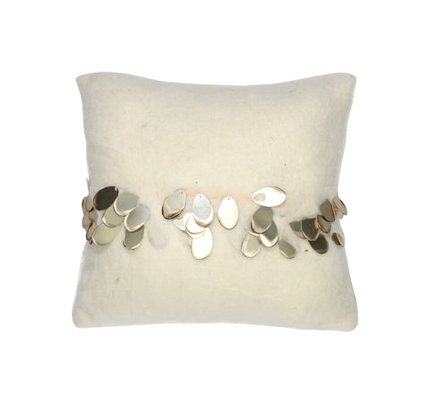 Alchemy Crème with Gold Teardrop Pillow