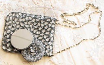 Cross Body Silver Jeweled Purse in Silver with Gogo Mirror