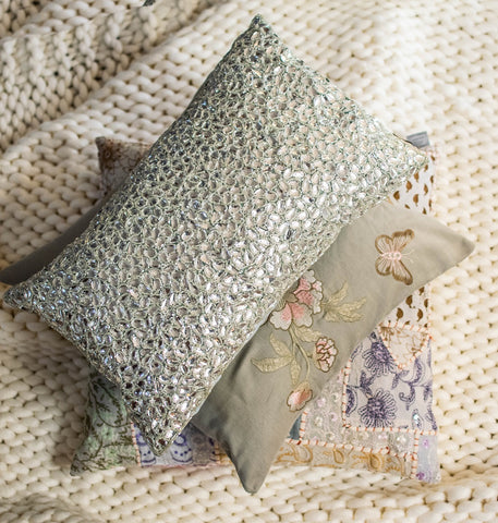 Winter Garden Pillow Set includes 18x18 One of a Kind Patchwork Pillow, 12x20 Jewel Pillow and 18x18 Heavy Embroidery on Cotton