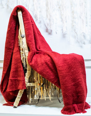 Cozy Mohair Throw in Red