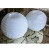 Set of Two Hand-Carved Selenite Votive Holders
