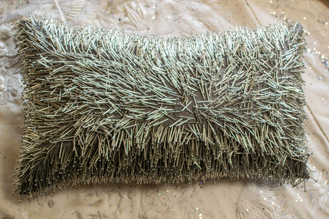 Oblong Silver Matchstick Pillow