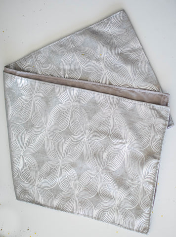 Silver Damask Linen Table Runner