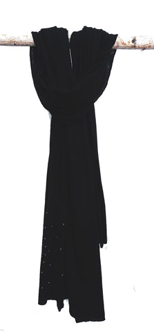 Cashmere Scarf in Black With Swarovski