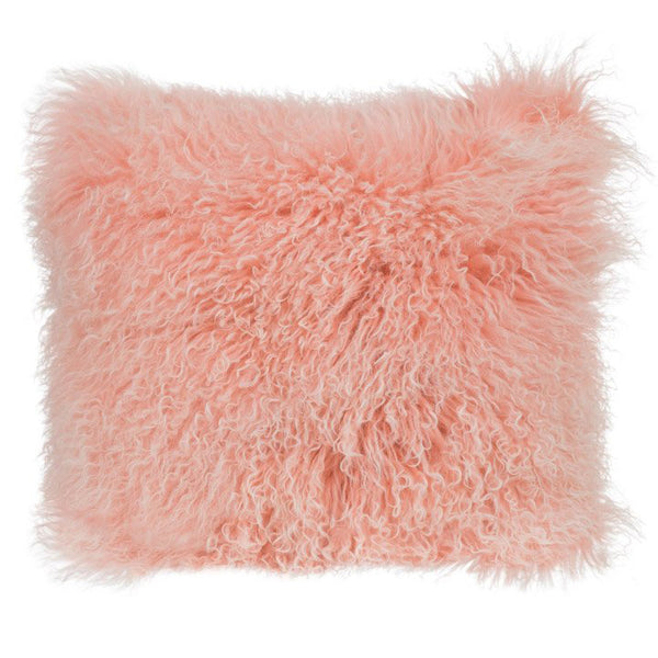 Mongolian Fur Double Dipped Pillow Pink