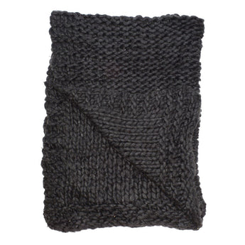 Chunky Knit Wool Throw in Charcoal
