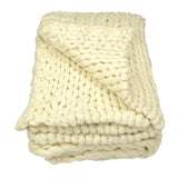 Chunky Knit Wool Throw in Créme