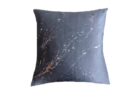 Constellation in Prism Dusk on Silk Fleece in Charcoal