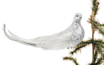 Set of 6 Large Silver Glitter Ornament Birds