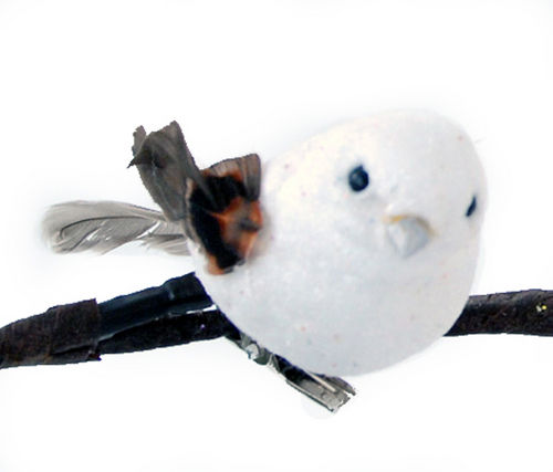 Set of 6 Small White Glitter Ornament Birds