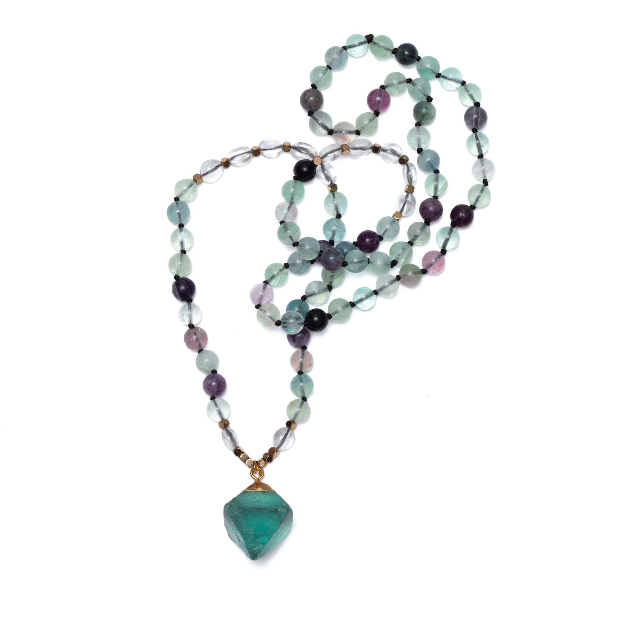 Fluorite Tetrahedron necklace  length 32""
