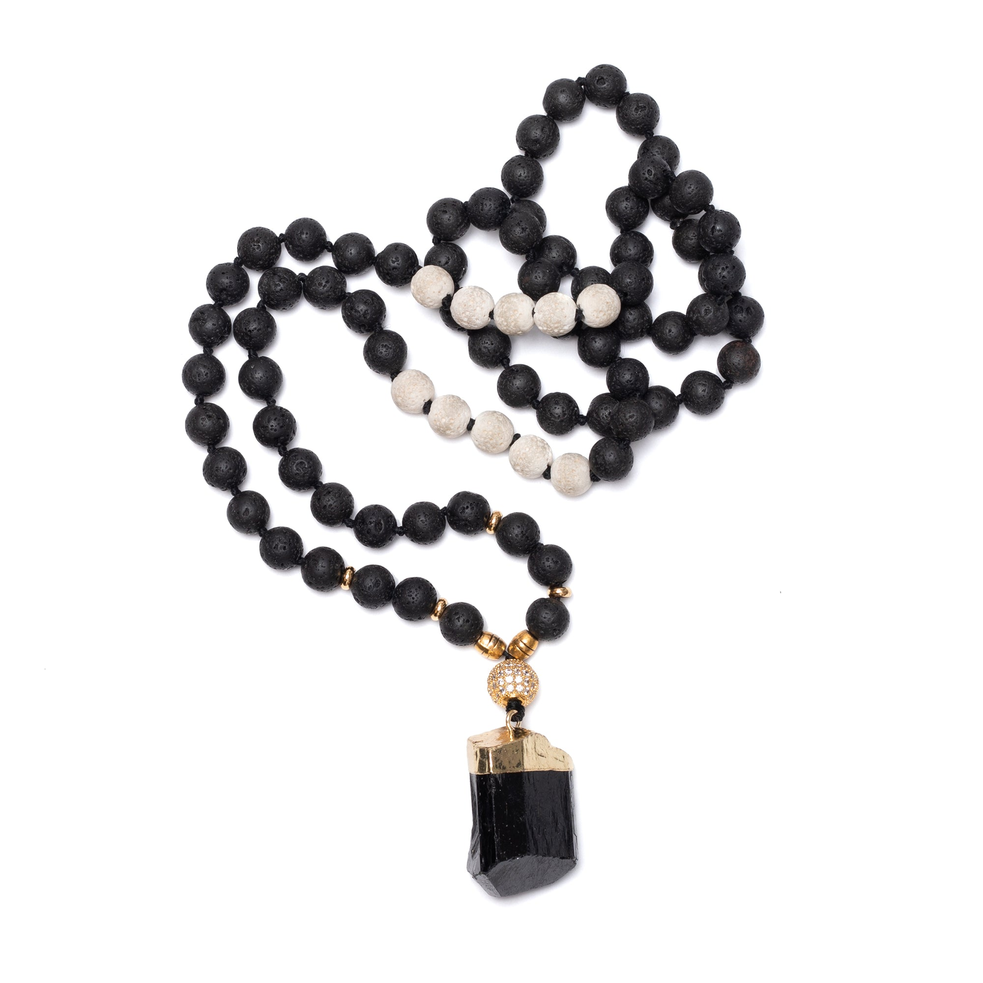 Black Tourmaline and Lava Bead Necklace: length: 32""