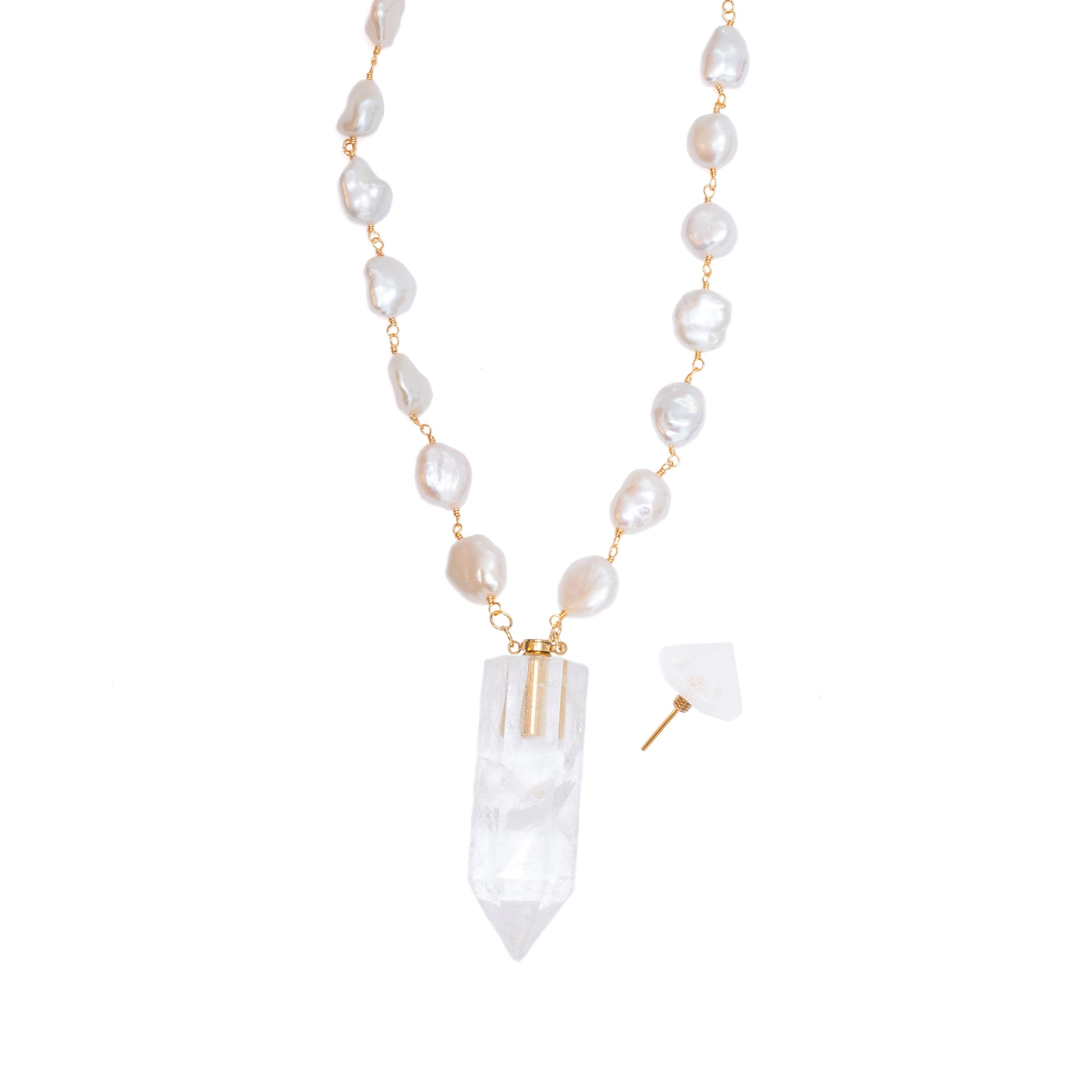 Clear Quartz Point Bottle with Pearls: Trophy Necklace