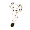 Black Tourmaline Necklace with Pearl and Bead Gold Necklace