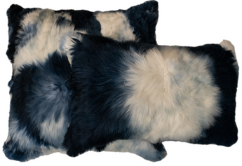 Suri Alpaca Pillow Navy with Ivory