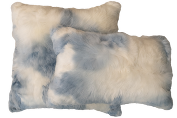 Suri Alpaca Pillow White/Blue
