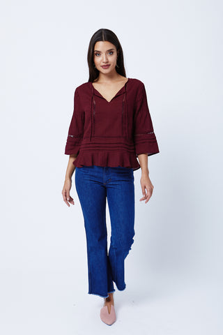 Ravine Half Sleeve Top - Ox Blood