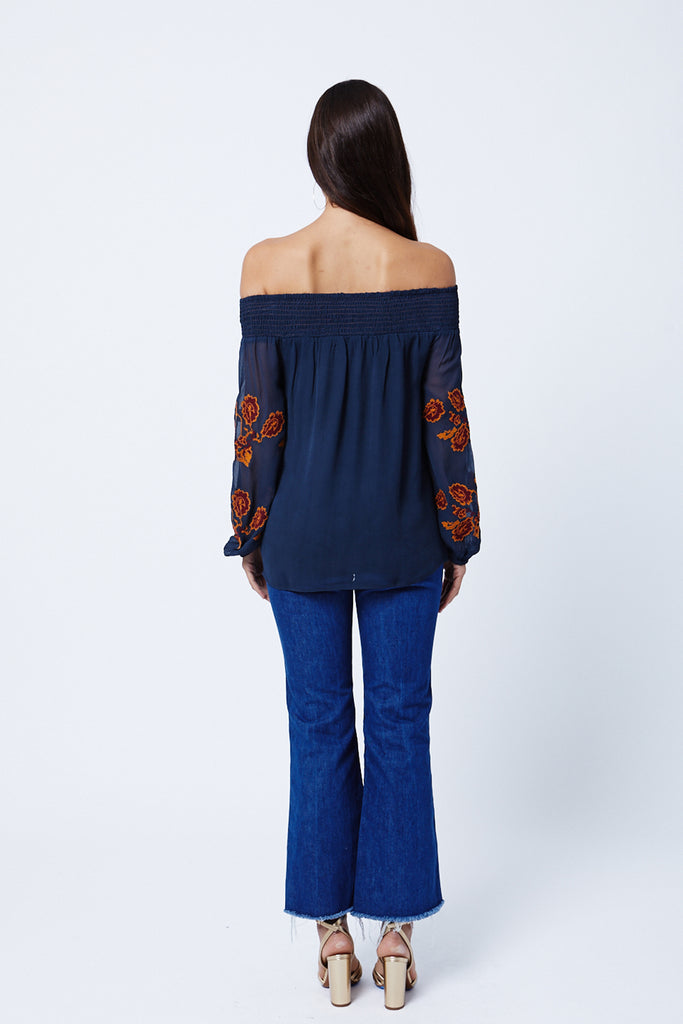 Pine Cove Off Shoulder Blouse - Navy
