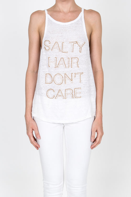 Salty Hair Don'T Care Beaded Tank - White