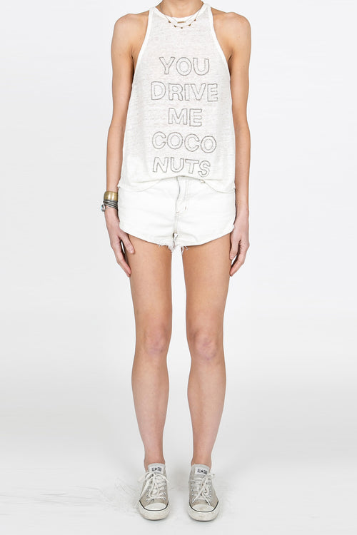 You Drive Me Coconuts Beaded Tank - White