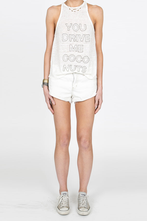 You Drive Me Coconuts Beaded Tank